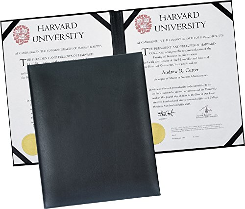 "Dual Leather Certificate Menu Holder or Wine List Diploma Cover Holds Two 8.5"" X 11"" Inserts with Clear Protective Cover. Black"