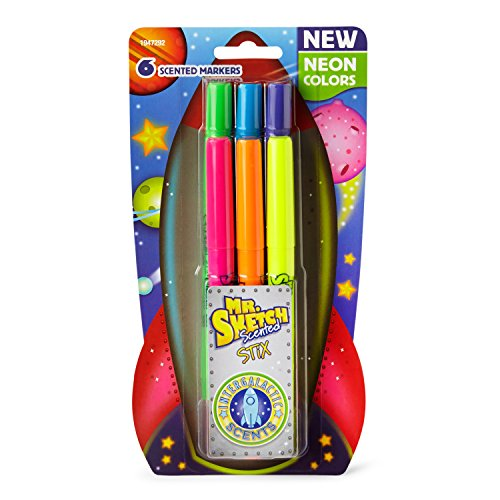 Mr Sketch Scented Stix Marker (Mr. Sketch Scented Stix Markers, Fine Tip, Intergalactic Neon Colors, 6-Count)