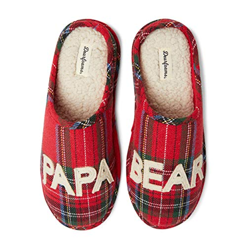 Dearfoams Men's Papa Bear Clog Slipper - Charming, Cozy and Comfortable in Classic Patterns and Colors - Cushioned Insole with Memory Foam - Indoor/Outdoor Rubber Outsole