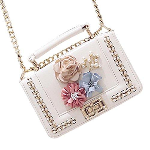 Bags Women,Sixcup Women Designer Shoulder Handbags Ladies Faux Leather Tote Bags 3D Flower Career OL handbag chain bag Sixcup White