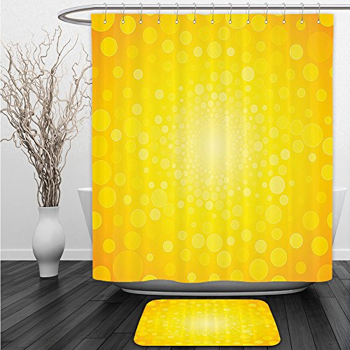 Vipsung Shower Curtain And Ground Mat Yellow Decor Bright Vibrant Burst Circles Dots Abstract Warm Solar Polka Sun Rise Artprint Home Orange YellowBathroom Shower Curtain Set with Bath Mats Rugs by vipsung