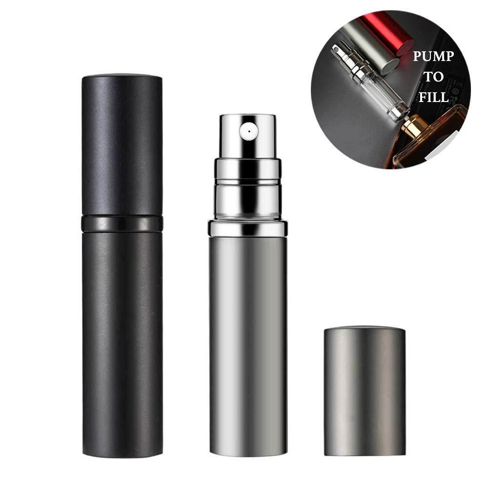 Refillable Perfume Atomizer 5ml Perfume Bottle, Mini Travel Atomizer Empty Portable Perfume Spray Bottle (Black and Silver) by D-LOTUS