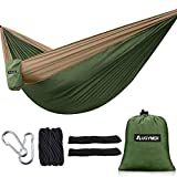AUGYMER Camping Hammock, Portable Lightweight Parachute Hammock Tree Straps Up 600lbs Nylon Rope Hammocks Swing Hiking Travel Backpacking Beach Yard