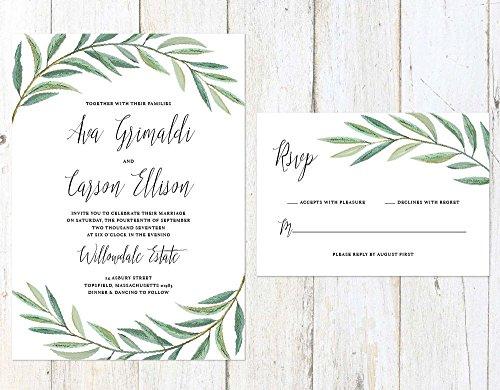 Greenery Wedding Invitation, Leaves Wedding Invitation, Garden Fern Wedding Invitation by Alexa Nelson Prints