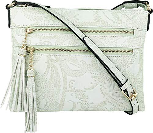 B BRENTANO Vegan Multi-Zipper Crossbody Handbag Purse with Tassel Accents (Mint Green (FL))