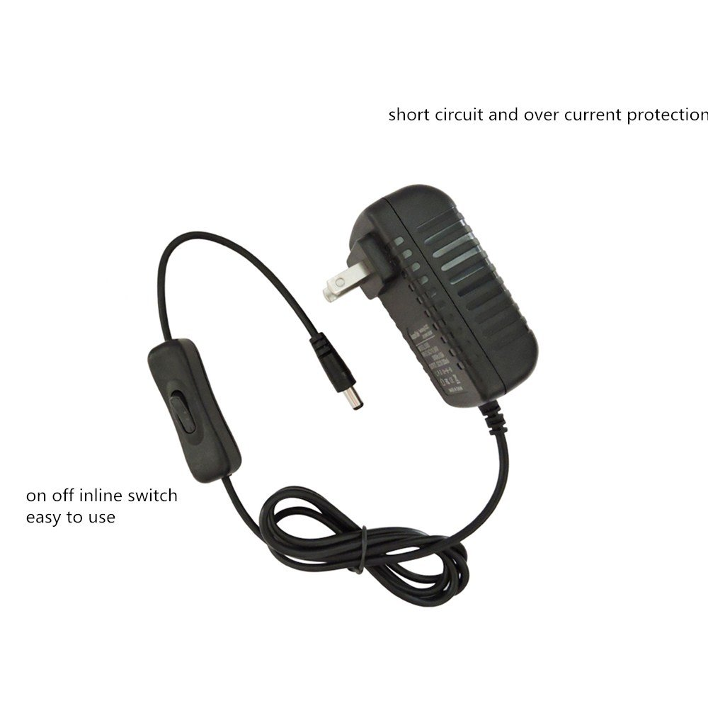 AspenTek Led Power Supply Adapter with Inline on off Switch for 12V ...