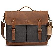 Leather Canvas Messenger Bag for Men and Women 15 inch Laptop Vintage Satchel Business Briefcase Shoulder Bag