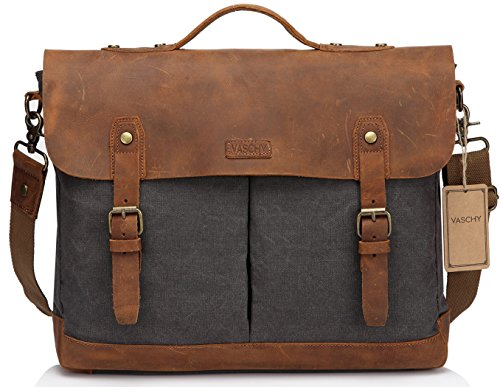 Leather Canvas Messenger Bag for Men,15.6 inch Laptop Vintage Satchel Business Briefcase Shoulder Bag by Vaschy