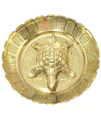 Brass Turtle - R.S.Inc Pure Brass Vastu Fengshui Tortoise/Turtle with Plate for Goodluckbest Wishing gifit Purpose 2'2 inch from India