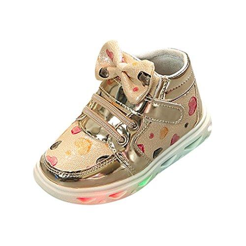 Prevently Junge Lampe Schuhe Mädchen-Liebesbogenlicht Beschuht Kleinkindart und weisebaby-Sportschuh-Herzlichtkinder Freizeit Bunte Helle Schuhe Gold