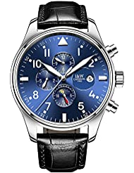PASOY Men Pilot Automatic Mechanical Silver Steel Case Sapphire Glass Blue Dial Day Week 24/Hours Watches