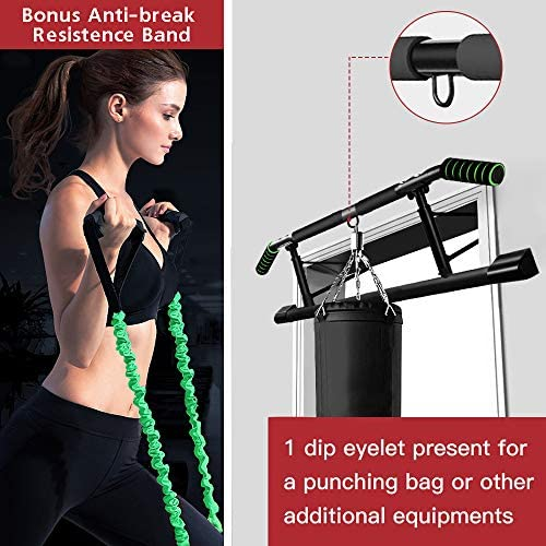 SIEBIRD Pull Up Bar for Doorway with Mount Hook - Chin Up Bar No Screws - Angled Grip Home Gym Exercise Equipment - Portable Pullup Bar Upper Body Workout Bar with Bonus Resistence Band 4