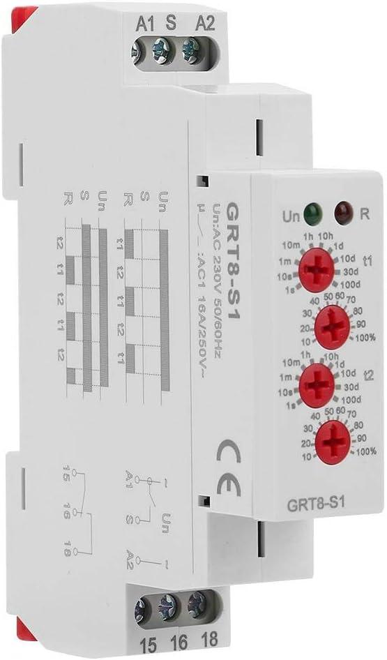 Interruptor de relé del temporizador de retardo del ciclo GRT8-S1 Mini asimétrico ENCENDIDO APAGADO Repita CA 230 V para control industrial