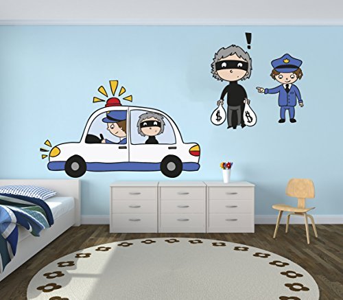 e-Graphic Design Inc Police and Thief Vinyl Wall Paper Decal Art Sticker - Kids Room Decor for Home Interior Decoration Car Laptop (M28D) (Wide 31