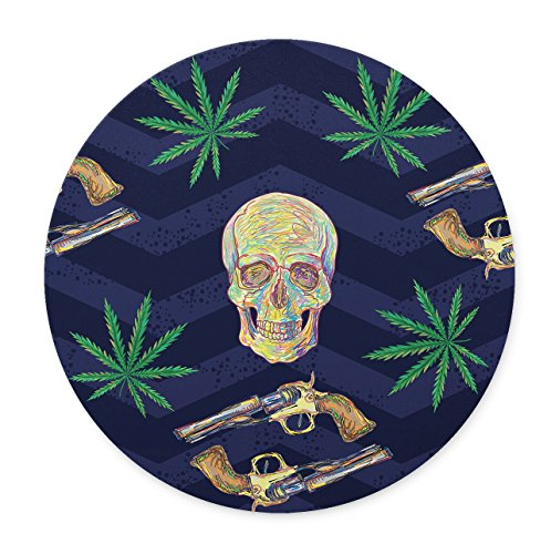 Newing marijuana leaf old revolvers and skulls mouse pad, Natural Rubber Round Mouse Pad, Quality Creative Wrist-protected Wristbands Personalized Desk, Round Mouse - Wristbands Marijuana
