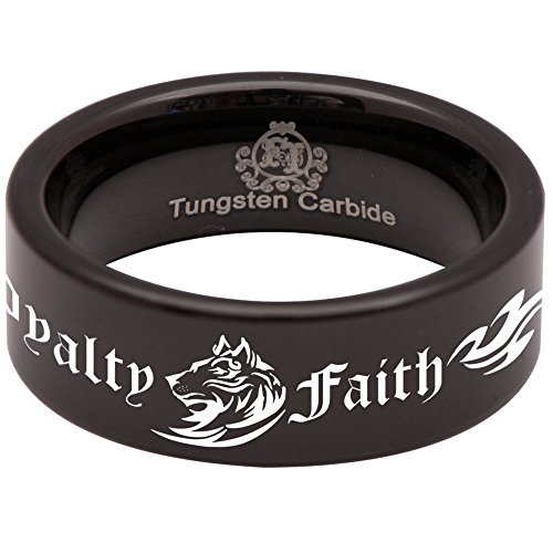 - Black Tungsten Carbide Tribal Wolf Loyalty Faith Alpha Ring Wedding Band Anniversary Ring for Men and Women 8mm Size 10.5