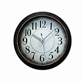 Usany 5 inch black Vintage Wood Pattern Analog Table Clock Arabic numbers Silent Non-ticking Quartz Desk Clock Alarm Clock Round Desk Clocks 3D Clock Brown