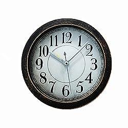Usany 5 inch black Vintage Wood Pattern Analog Table Clock Arabic numbers Silent Non-ticking Quartz Desk Clock Alarm Clock Round Desk Clocks 3D Clock Brown