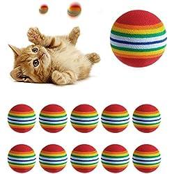 Doober 10Pcs Super Cute Rainbow Toy Ball Small Dog Cat Pet Eva Toys Golf Practice Balls