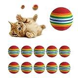 NNDA CO 10Pcs Cute Rainbow Toy Ball Small Dog Cat Pet Eva Toys Golf Practice Balls New