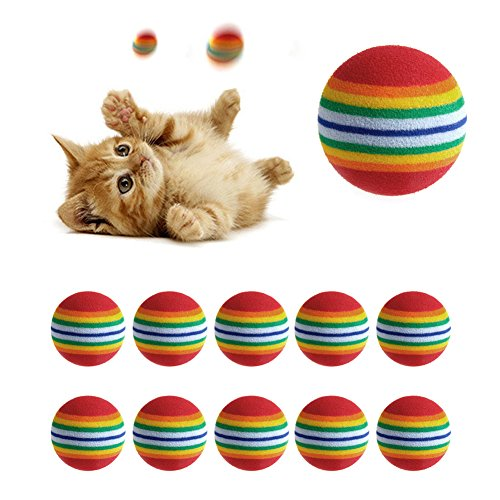 (Amrka 10 Pcs Colorful Pet Dog Cat Kitten Soft Eva Foam Rainbow Play Balls Golf Practice Balls Activity Toys)