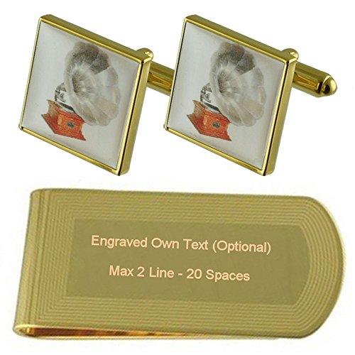 Gramaphone Cufflinks Engraved Set Gift Clip Money tone Music Gold t4wqnd