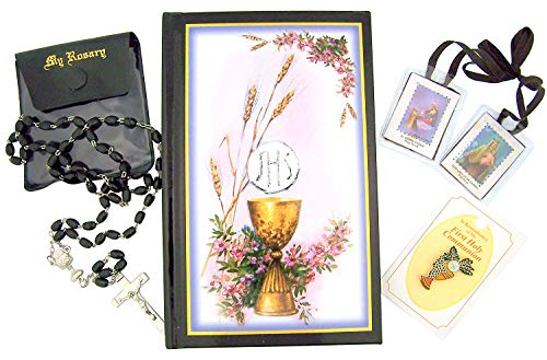 Bread of Life My Holy First Communion Gift Set with Mass Book, Rosary with Cased, Pin, and Scapular