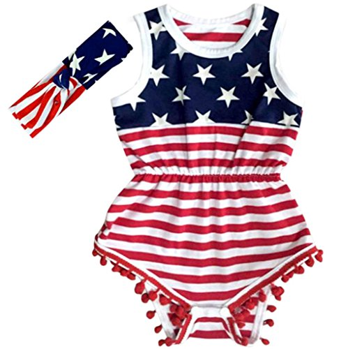 Carkoo USA Flag Pattern Baby Girl's Romper Beach Wear(Small,Flag)