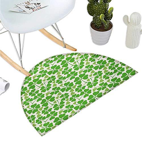 - Irish Semicircular Cushion Gaelic Nature Garden Theme Spring Clovers with Cute Hearts Freshness Bathroom Mat H 27.5
