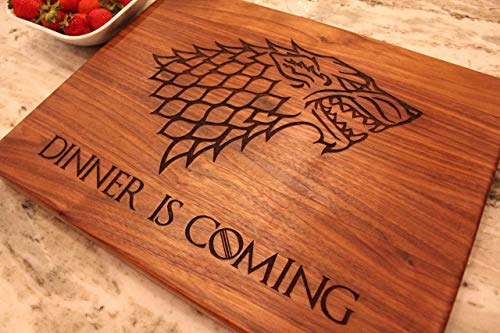 Game of Thrones Cutting Board - Game of Thrones Gift, Game of Thrones Merchandise, Boyfriend Gift, Walnut Wood Cutting Board made in the USA - Winter is Here, Dinner is Coming]()