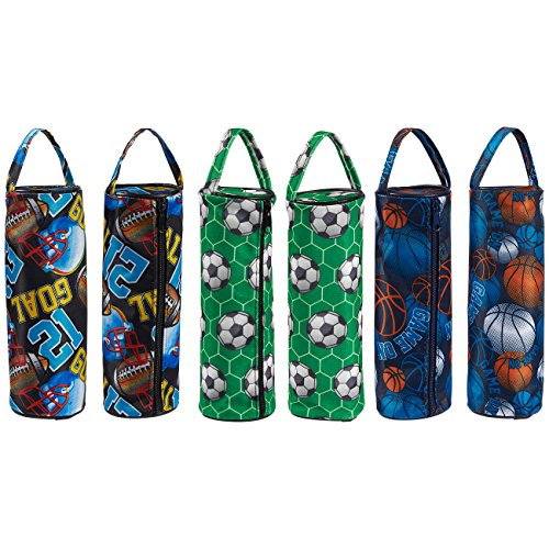 6 Pack Sports Pencil Cases – Zippered Pencil Pouch, Round Pencil Bag for Stationery Accessories, School Supplies, and Daily Essentials, 8 x 2.5 x 2.5 Inches