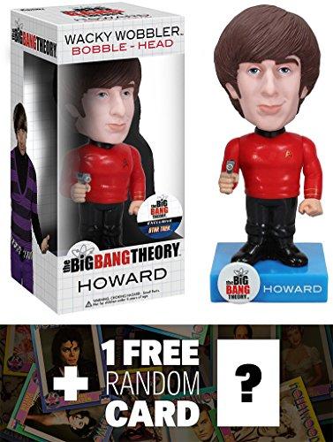 "Howard ~6.5"" Bobble Head Figure: Big Bang Theory x Star Trek Wacky Wobbler Series + 1 FREE Official Hollywood themed Trading Card Bundle [25360]"