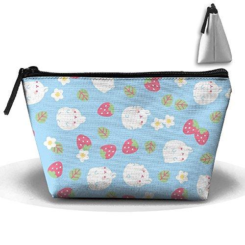 White Rabbits Love Strawberry Portable Zipper Travel Organizer Fashion Cosmetic Bags Make Up Bag Toiletry Bag Brush Organizer Coin Purse Pencil Holder For - White Plain Contact Lenses