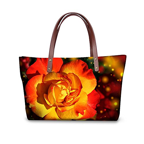 Casual DESIGNS Handbag Bags Fashion FOR Women Vintage U Rose Waterproof Tote Print Floral 6 Yellow z5fqFwv5
