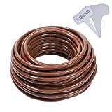 #10: KORAM Drip Irrigation 1/4 Blank Distribution Tubing Drip Watering Hose 50ft Roll with Plant Tag, Brown