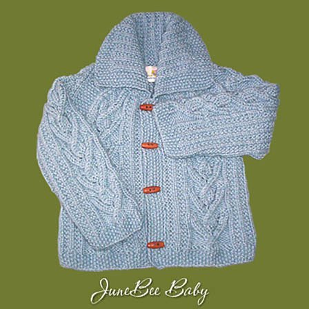 JuneBee Baby, Inc. My Trendy Baby Cotton & Bamboo Knit Cardigan - White with Anchor buttons - (Collection Cashmere Baby Sweater)