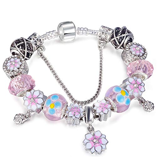 MMYU Bracelet Silver Color Charm Bracelet Daffodil Glass Beads Lovely Pink Magnolia Pendant Brand Bracelet for Women Girls Jewelry Gift