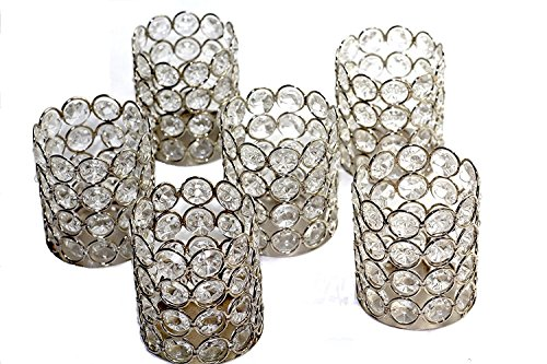 BD Crafts Crystal Bead Candle Holder - 6 per Set (Silver Set of 6)
