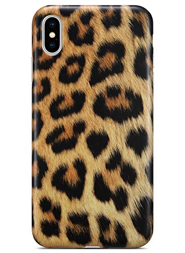 Coolwee iPhone Xs Case,iPhone X Leopard Case Slim Matte Leopard Pattern Design for Women Girls Men Rubber Gel Bumper Soft Flexible TPU Case Cover for Apple iPhone Xs (2018)/iPhone X (2017) - Gold