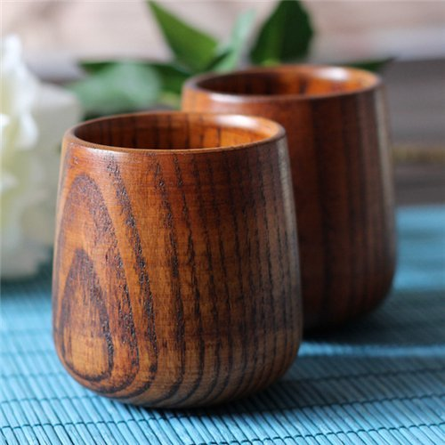 Stock Show 2Pcs Elegant/Fancy Jujube Wooden Coffee/Tea Cups/Mugs ()