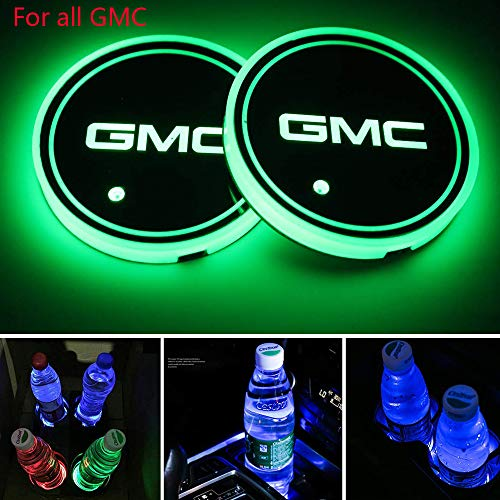 Zhengyong Auto 2PCS LED Car Logo Cup Holder Lights for GMC ,Waterproof Bottle Drinks Coaster Built-in Light 7 Colors Changing USB Charging Car Interior Accessories (GMC)