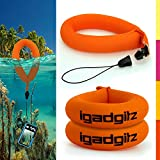 iGadgitz 2 Pack Neon Orange Waterproof Floating Wrist Strap suitable for Underwater/Waterproof: Cameras, Video cameras, cases & housing, Marine binoculars + Waterproof Sony phones
