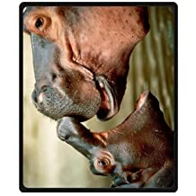 """Home Fashions design Fleece Blanket Throw 50"""" x 60"""" (Medium) Size with Hippo Drawing art Background"""