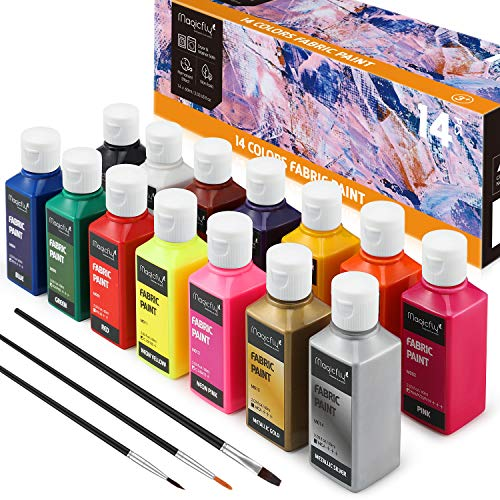 Magicfly Permanent Fabric Paint Set, Set of 14(60ml Each) Textile Paints with 3 Brushes, No Heating Needed & Washable Vibrant Colors for Canvas, T-Shirts, Jeans, Bags, Wood, Paper, All DIY Projects