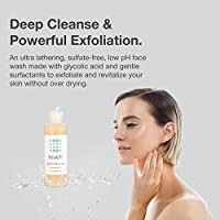 Glycolic Acid Face Wash Exfoliating Cleanser with 10% Glycolic Acid - Non Drying, Low Ph, Reduces Blackheads, Acne scars, Anti-Aging, Minimizes Pores - 6 Ounce