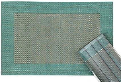 Set da Tavola Elegante e Durevole Argento//Grigio Chiaro Lavabili Tovaglietta Americana 45 x 30 cm in Plastica Intrecciata Set di 4 Pezzi