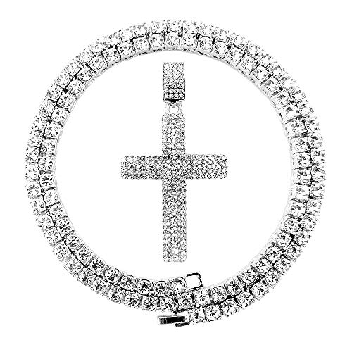HH Bling Empire Mens Iced Out Hip Hop Gold Artificial Diamond Ankh Cross Pendant cz Tennis Chain 22 Inch (Silver-Tennis-Cross G)