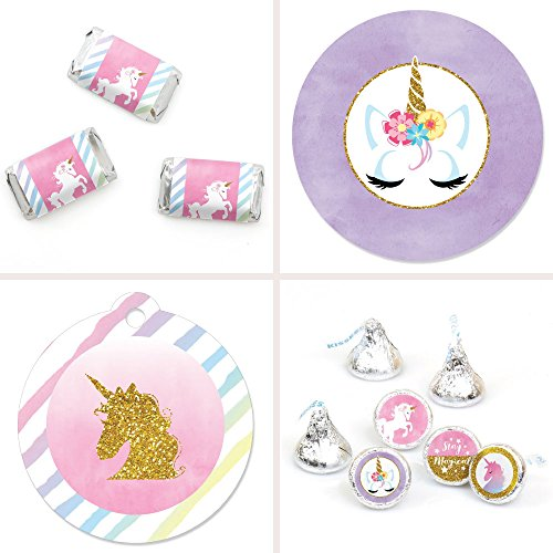 Big Dot of Happiness Rainbow Unicorn - Magical Unicorn Baby Shower or Birthday Party Decorations Favor Kit - Party Stickers & Tags - 172 pcs