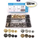 #5: Seloky 120 Set 4 Colors Snap Fasteners Leather Snaps Button Kit Press Studs with 4 Pieces Fixing Tools, 12.5 mm in Diameter