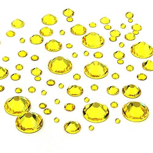CITRINE (249) yellow 144 pcs Swarovski 2058/2088 Crystal Flatbacks yellow rhinestones nail art mixed with Sizes ss5, ss7, ss9, ss12, ss16, ss20, ss30 - 144 Swarovski Crystal